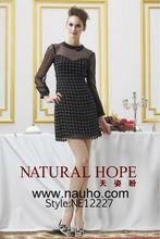 Mãe da noiva do laço vestidos formais renda preta acima do joelho vestidos manga comprida noite elegante padrão