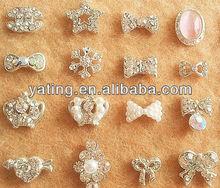 Silver 3D Carve Alloy Rhinestones Bow Tie Nail Art DIY Decorations
