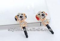 Large stocks!!wholesale cute rhinestone dog animal dust plug many types of cute dust plug