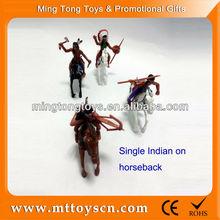 Plastic Indian men for hunting ride on horseback toy