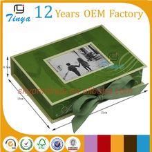 Book shape wedding photo album box with ribbon