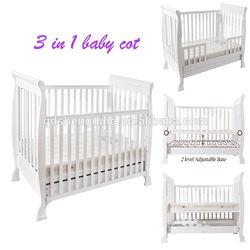 3 in 1 design nursery wooden baby cot with mattress