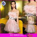 por encargo de cóctel evenign vestido con cuentas de moda nueva pluma de color rosa vestidodenoche 2013 lx018