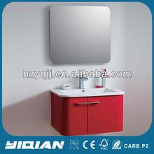 Shining Red Wall Resin Basin Home Use Modern Bathroom Unit