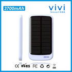 CE RoHS 3700mah solar battery charger with 4LED indicators for iphone4/5 samsung blackberry HTC and other smartphones etc