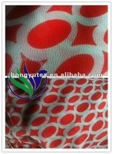 Red circle ring printed polyester chiffon for lady's dress