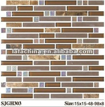 crystal glass mix marble mosaic tile best used for interior wall decorative