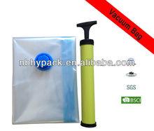 PA/PE transparent vacuum compressed bag with air pump