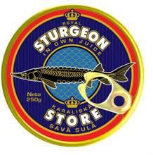 Canned fish. Royl sturgeon in own juice