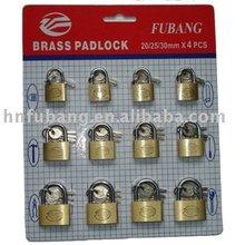 Fubang 20/25/32mm*4 pcs brass lock set brass padlock