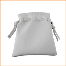 Gray leather pouch with drawstring for gift