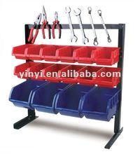 16 bin storage rack,plastic storage bin kit and tool holder ,16pcs wall mounted Storage Bin rack with Magnetic strip (202719)