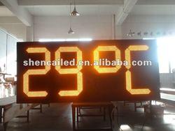 yellow humidity temperature 7 segment led clock display
