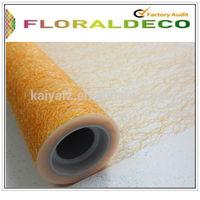 Orange fiber mesh fabric 39cm mesh roll 50cm for flower packing