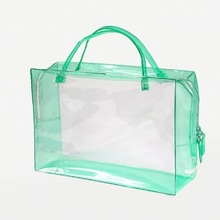 Audit factory,New Listing,Hot Sale,Plastic pvc zipper tote bag with blue/black handles and tr bag for wine packing