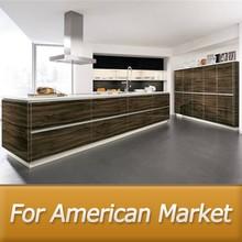 America project modern kitchen cabinet(lacquer,wood veneer,wood grain PVC)