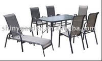 Outdoor Garden Metal Sling Dining Furniture Set Table and chair