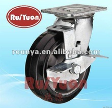 Heavy duty caster with elastic rubber wheel