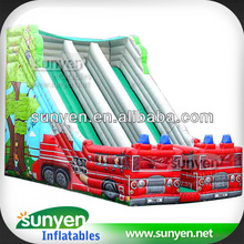 Gorgeous Giant Fire Truck Inflatable Slide