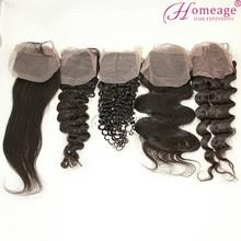 homeage top closure human hair brazili
