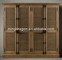 Antique rustic style recycled oak wood bedroom cabinet