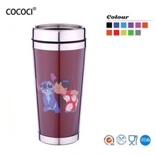 2014 cheap BPA free customized paper insert travel mug