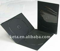 5.2mm Super Slim Double Black Plastic Long DVD Case , DVD Box