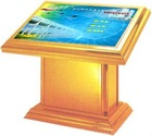 Advertising touch screen kiosk and digital signage used on Bank, Real estate property, Convention center