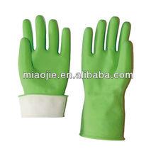 green latex flock lined household rubber gloves