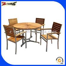 stackable Aluminum teak wood dining set furniture ZT-1025CT