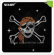 pirate skull motif in iron on rhinestone transfer
