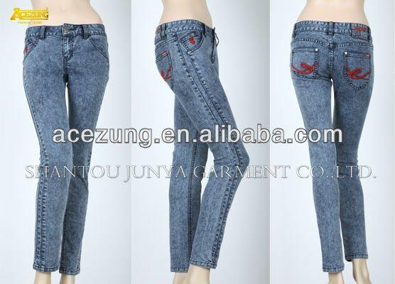 2013 Acezung moda desgaste de la mezclilla desel vaqueros para la señora --- los pantalones vaqueros del bordado del bolsillo diseño