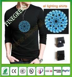led 3D el t-shirt/custom new design for el t-shirt/shenzhen designer custom el t-shirt for customers