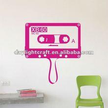 fashion waterproof retro decal cassette music pvc wall sticker