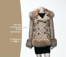 2015 Fashional OEM Women Goose Down Jacket /Fox Fur Down Coat For Winter