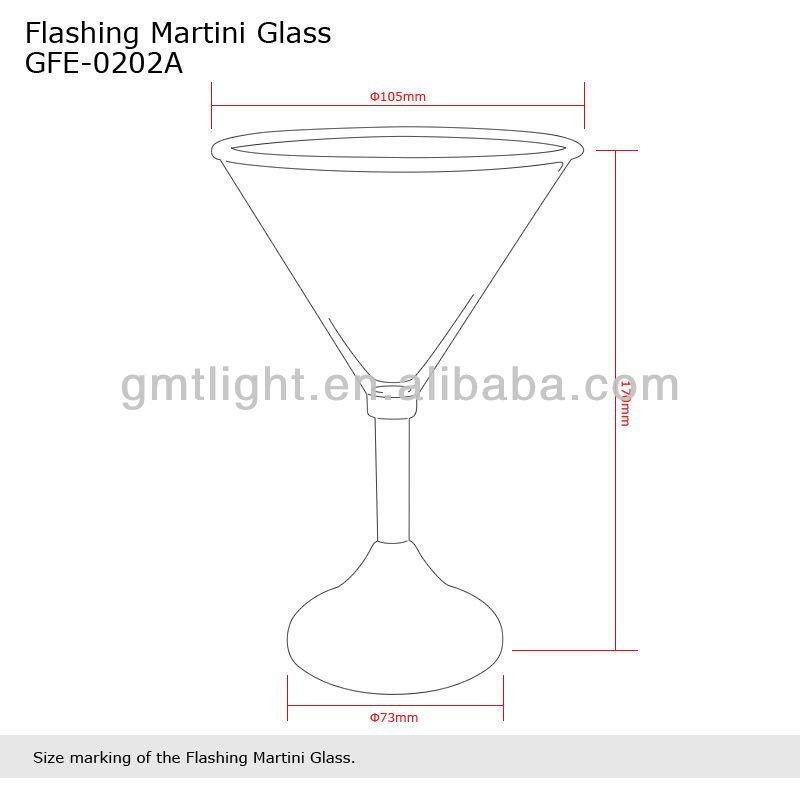 Flashing Martini Cocktail Shaped Led Glass