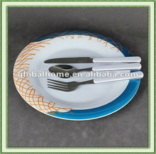melamine plate and cutlery dinner set