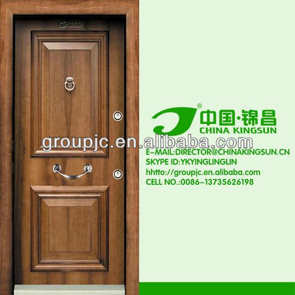 Steel wooden armored main door design with rob handle for Main door model
