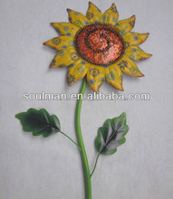 2014 new and hot selling metal sunflower sticker garden decoration arts and crafts