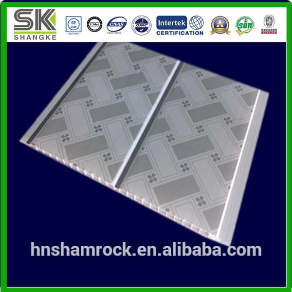 Panneau de plafond en bois blanc de pvc tuiles de plafond for Plafond en bois blanc