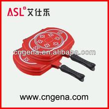 ASL die cast aluminium black or red double cooking pan