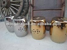Chinese antique golden porcelain stool
