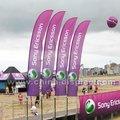 publicidad al aire libre playa de venta al por mayor pluma de la bandera