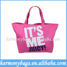 hot sales pink color printed eco fabric shopping bag