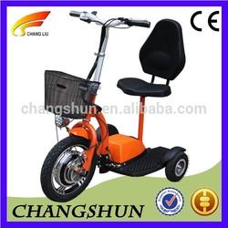 New folding 3 wheel electric scooter 36V350W brushless hub motor