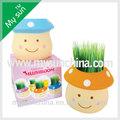 Grass head doll-- flor pote de cerâmica cartoon cogumelo plantador