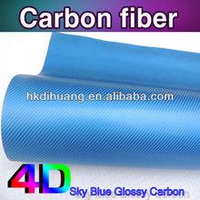 New arrival 4D glossy carbon fiber foil Sky blue color