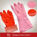 Doublée de coton cuisine/nettoyage/lavage naturel jaune latex des gants flocké ménage pulvérisé