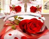 Newest design 3d printed bedding set wedding romantic bedding set red rose bedding set