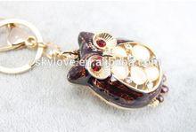 3D Animal Zinc Alloy Cute Crystal Owl Keychain